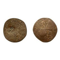 1640 countermark on a 1573-G [Poitiers Mint] Charles IX Douzain aux Deux C Couronnes, Ciani 1384, Du