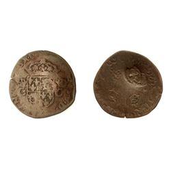1640 countermark on a 1575-Z [Grenoble Mint] Charles IX Douzain du Dauphine aux deux C Couronnes.  C