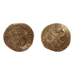 1640 countermark on a 1576-S [Troyes Mint] Henri III Douzain aux Deux H, 1st type, Ciani 1450, Duple
