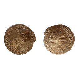 """1640 countermark on a 1577-""""9"""" [Rennes Mint] Henri III Douzain aux Deux H, 1st type, Ciani 1450, Dup"""