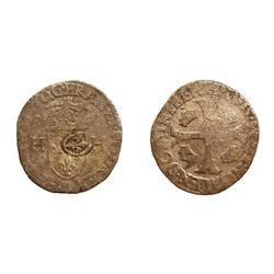 1640 countermark on a 1577-C [St-Lo Mint] Henri III Douzain aux Deux H, 1st type, Ciani 1450, Duples