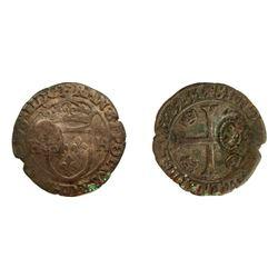 1640 countermark on a 1589-D [Lyon Mint] Henri III Douzain aux Deux H, 1st type, Ciani 1450, Dupless