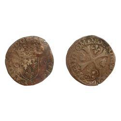 1640 countermark on a 1593-R [Marseille Mint] Charles X Douzain aux Deux C, 1st type, Ciani 1492, Du