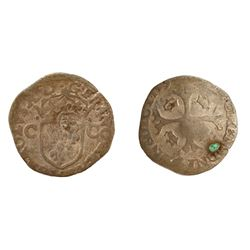 1640 countermark on a 1593-X [Amiens Mint] Charles X Douzain aux Deux C, 1st type, Ciani 1491, Duple