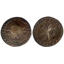 1640 countermark on a 1593 circle with dot [Maringues Mint] Henri IV Douzain aux Deux H Couronnes, 3