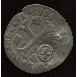 1640 countermark on a 1594-D [Lyon Mint] Henri IV Douzain aux Deux H, 1st type.  Ciani Unlisted, Dup