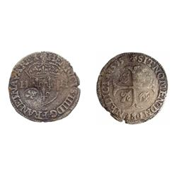 1640 countermark on a 1595-C [St-Lo Mint] Henri IV Douzain aux Deux H, 2nd type.  Ciani 1563, Duples