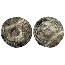 "1640 countermark on a 1526-1544 ""7"" Mintmark [York Mint] Groat of Henry VIII of England, Spink 2239"