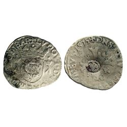 1640 countermark on 1575 [Treboux Mint] Dombes Douzain of Louis II de Bourbon-Montpensier, Divo Domb
