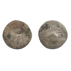 1640 countermark on 1587 [Treboux Mint] Dombes Douzain of Francois II de Bourbon-Montpensier, Divo D
