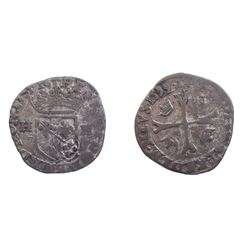 1640 countermark on 1599 [Trevoux Mint] Dombes Douzain of Henri II de Bourbon-Montpensier, Divo Domb