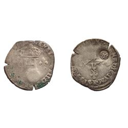 """IHS"" countermarked on a 1589-A [Compiegne Mint] Henri IV Double Sol Parisis"