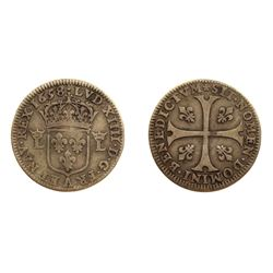 1658-A [Paris Mint] Pattern Sizain, piedfort, struck in Silver, Ciani 1978, Duplessy 1580, Gadoury 8