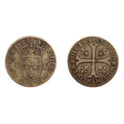 1658-A [Paris Mint] Pattern Sizain, piedfort, struck in Silver, Ciani 1978, Duplessy 1580, Gadoury 8