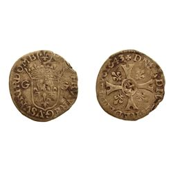 1643 Quinzain of Dombes.  Divo Dombes 186, Gadoury Unlisted, Poey d'Avant 5190, Breen Unlisted.