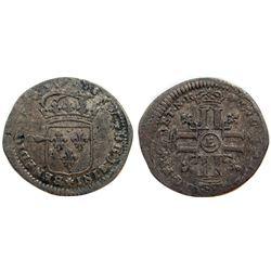 1692-E [Tours Mint] Recoined Sol de 15 Deniers, Gadoury 91.