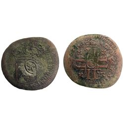 1692 (likely)-Crowned S [Troyes Mint] Recoined Sol de 15 Deniers, Gadoury 93.