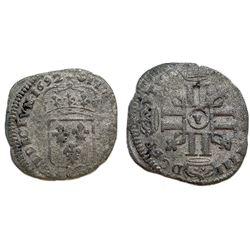 1692-Y [Bourges Mint] Recoined Sol de 15 Deniers, Gadoury 91.