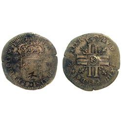 1692-& [Aix Mint] Recoined Sol de 15 Deniers, Gadoury 91.