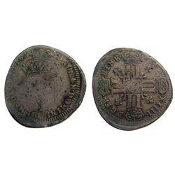 """1692-""""9"""" [Rennes Mint] Recoined Sol de 15 Deniers, Gadoury 91."""