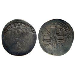 1693-B [Rouen Mint] Recoined Sol de 15 Deniers, Gadoury 91.