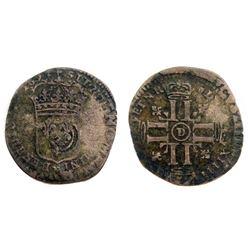 1693-D [Lyon Mint] Recoined Sol de 15 Deniers, Gadoury 93.