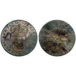1693-D [Lyon Mint] Sol de 15 Deniers, Gadoury 91.