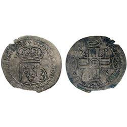 1693-E [Tours Mint] Recoined Sol de 15 Deniers, Gadoury 93.