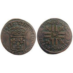 1693-M [Toulouse Mint] Sol de 15 Deniers, Gadoury 91 type.