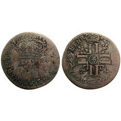 1693-Crowned S [Troyes Mint] Sol de 15 Deniers, Gadoury 91.