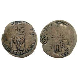 1693-Y [Bourges Mint] Recoined Sol de 15 Deniers, Gadoury 93.