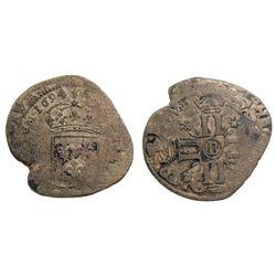 1694/3-B [Rouen Mint] Recoined Sol de 15 Deniers, Gadoury 91.