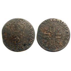 1694-D [Lyon Mint] Recoined Sol de 15 Deniers, Gadoury 91.