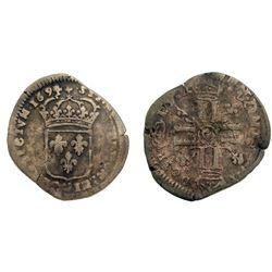 1694/3-G [Poitiers Mint] Recoined Sol de 15 Deniers, Gadoury 91.