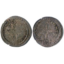 1694 or possibly 1694/3-H [La Rochelle Mint] Recoined Sol de 15 Deniers, Gadoury 91.