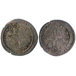 1694 or possibly 1694/3-H [La Rochelle Mint] Recoined Sol de 15 Deniers, Gadoury 91.