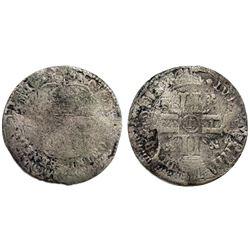 1694-Crowned L [Lilles Mint] Recoined Sol de 15 Deniers, Gadoury 91.