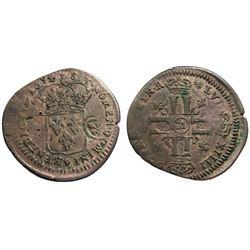 1694-M [Toulouse Mint] Recoined Sol de 15 Deniers, Gadoury 93.