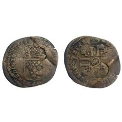 Lot 150.  1694/3-M [Toulouse Mint] Recoined Sol de 15 Deniers, Gadoury 93.
