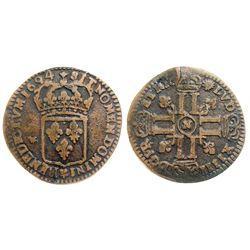 1694-N [Montpellier Mint] Sol de 15 Deniers, Gadoury 91 type.