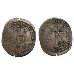 1694-P [Dijon Mint] Recoined Sol de 15 Deniers, Gadoury 93.