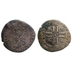 1694-Y [Bourges Mint] Recoined Sol de 15 Deniers, Gadoury 91.