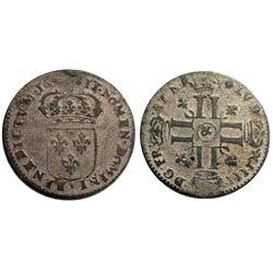 """1694-""""&"""" [Aix Mint] Sol de 15 Deniers, Gadoury 91."""