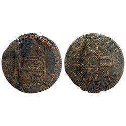 "1694-""Dot in Circle"" [Pau Mint] Sol de 15 Deniers de France-Navarre-Bearn, Gadoury 94."