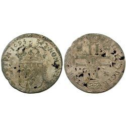 1695-B [Rouen Mint] Sol de 15 Deniers, Gadoury 91.