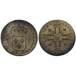 1695-D [Lyon Mint] Sol de 15 Deniers, Gadoury 91.