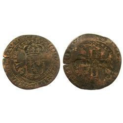 1695-E [Tours Mint] Recoined Sol de 15 Deniers, Gadoury 92.