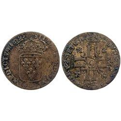 1695-G [Poitiers Mint] Sol de 15 Deniers, Gadoury 91 type.