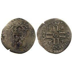1695-H [La Rochelle Mint] Recoined Sol de 15 Deniers, Gadoury 93.