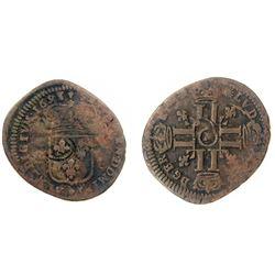 1695-M [Toulouse Mint] Recoined Sol de 15 Deniers, Gadoury 93.